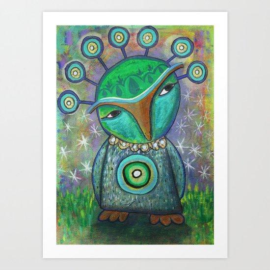 Alien Owl Art Print
