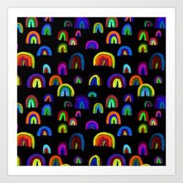 Happy Little Watercolor Rainbows in Mod Multi + Black Art Print