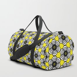 Yellow and Black Flowers Duffle Bag