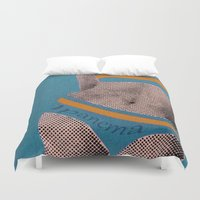 lichtenstein Duvet Covers featuring Gerald Laing in Ipanema by Fernando Vieira