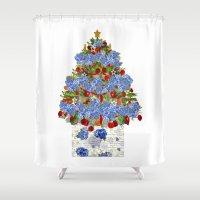 cape cod Shower Curtains featuring A Cape Cod Christmas by KarenHarveyCox