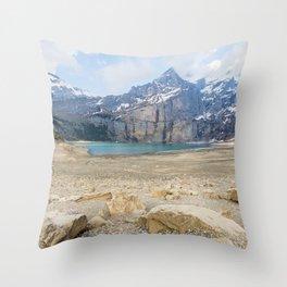 Oeschinen Lake Bernese Oberland Switzerland Throw Pillow
