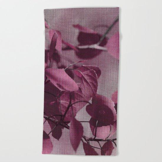 purple leaves Beach Towel