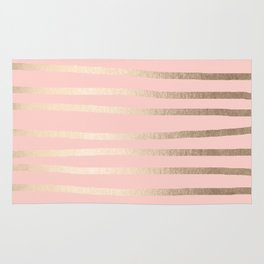 Abstract Drawn Stripes Gold Coral Light Pink Rug