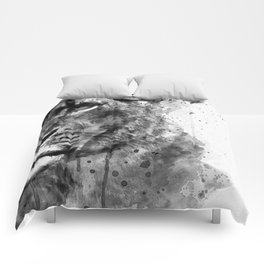 Black And White Half Faced Lioness Comforters