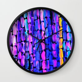 Yellow Sugarcane on Pink and Blue Wall Clock