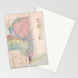 Vintage Geological Map of New York State (1870) Stationery Cards