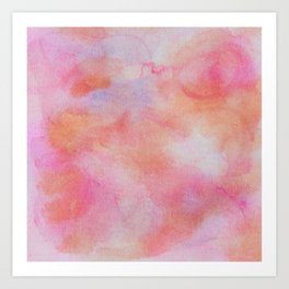 Warm pink and tangerine watercolor pattern Art Print