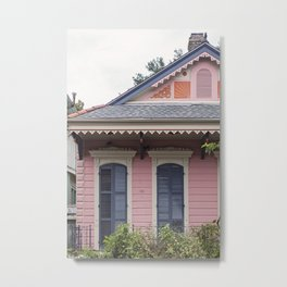 New Orleans Pink Creole Cottage Metal Print