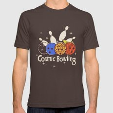 Cosmic Bowling Mens Fitted Tee Brown LARGE