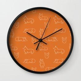 Corgi Pattern on Orange Background Wall Clock