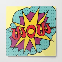 pop art text WOW for your design. Colorful vector Metal Print