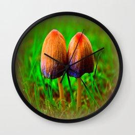 couple of mushrooms Wall Clock