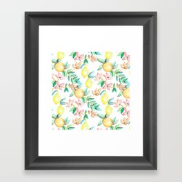 Flowers and Fruits Framed Art Print