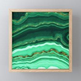 Gold And Malachite Marble Framed Mini Art Print