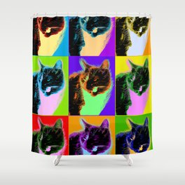 Poster with cat in pop art style Shower Curtain