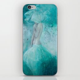 contemporary art, figure painting, romantic woman print, digital , Woman,turquoise,nude,bedroom desi iPhone Skin