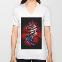 patriotic V-neck T-shirts featuring Patriotic Eagle by Mr D's Abstract Adventures