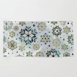Festive Golden Abalone Shell Snowflake pattern Beach Towel