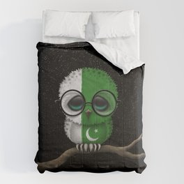 Baby Owl with Glasses and Pakistani Flag Comforters