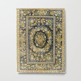 Louis XIV Savonnerie French Floral Carpet Print Metal Print