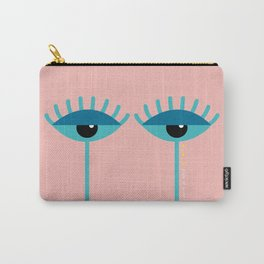 Unamused Eyes | Turquoise on Rosequartz Carry-All Pouch