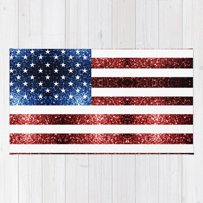 USA flag red blue sparkles glitters Rug