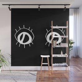 Eyez - white on black Wall Mural