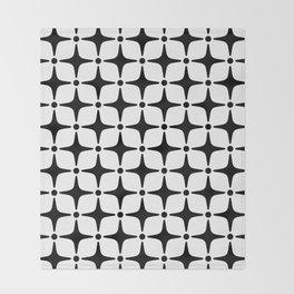 Mid Century Modern Star Pattern Black and White Throw Blanket