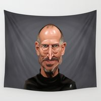 celebrity Wall Tapestries featuring Celebrity Sunday ~ Steve Jobs by rob art | illustration