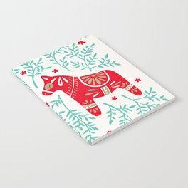 Swedish Dala Horses – Red & Mint Palette Notebook