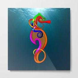 Psychadelic Seahorse Knot Metal Print