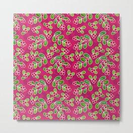 Cranberry Fruit Pattern on Fuchsia Metal Print