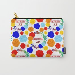 QUEER AF - A Rainbow Floral Pattern Carry-All Pouch