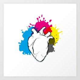 CMYK filled heart Art Print
