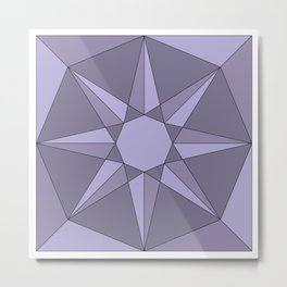 Purple Sun - Geometric Mandala Metal Print