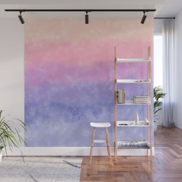 Artsy lavender pink coral watercolor ombre brushstrokes Wall Mural