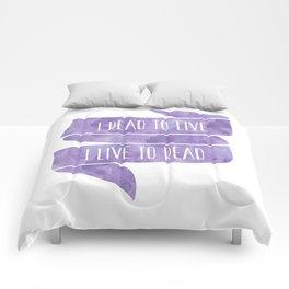 I Read To Live, I Live To Read - Purple Comforters