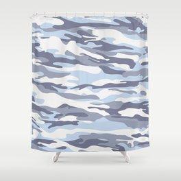 Pastel Blue Dusk Surprise Camo Shower Curtain