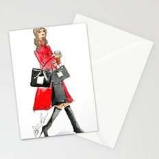 Walking Out of 5th Avenue Fashion Illustation by Elaine Biss Stationery Cards