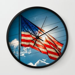 United States Flag in the sunlight Wall Clock