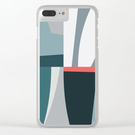 Organic Geometric 01 Blue Clear iPhone Case