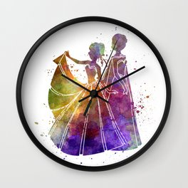 Elsa The Snow Queen and Anna in watercolor Wall Clock