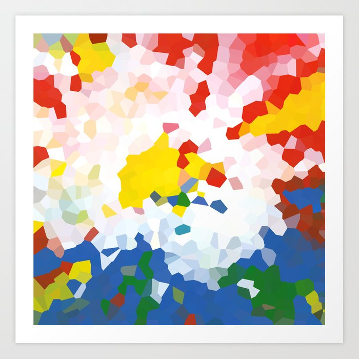 Abstract Background Red Blue And Yellow Colors Art Print By Jeshta