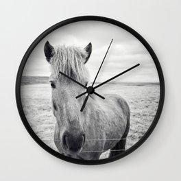Horse Print | Black and White Rustic Horse Art Wall Clock