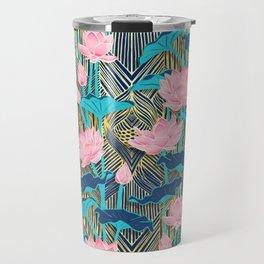 Art Deco Lotus Flowers in Pink & Navy Travel Mug