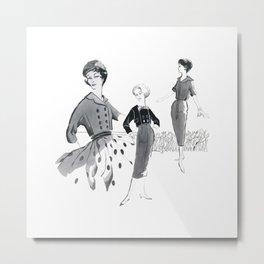 Vintage Sixties Commercial Art Illustration of Fashion Models Metal Print