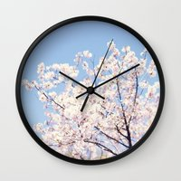 cherry blossoms Wall Clocks featuring Cherry Blossoms by myhideaway