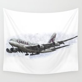 Qatar Airbus A380 Art Wall Tapestry