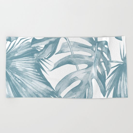 Island Dream Teal Blue Leaves Beach Towel